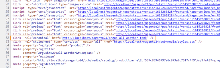 The generated canonical meta tag for a product page