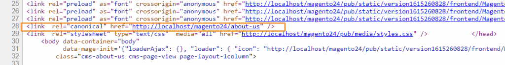 canonical URL in CMS page Magento 2